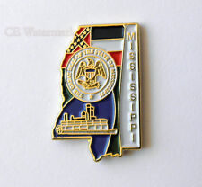 US STATES MISSISSIPPI STATE NAME MAP LAPEL PIN BADGE 1 INCH
