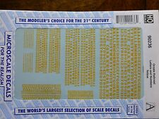 Microscale Decal #90236 Ornate Railroad Letters and Numbers - Yellow- 1:87 Scale