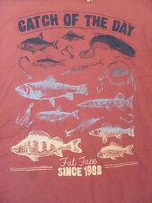 FAT FACE  FADED PINK CATCH OF THE DAY FISH PRINT TEE T SHIRT XS MEN TEEN BNWT