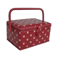 NEW Hobby Gift MRM/22V | Cream Spot On Dark Red PVC Coated Medium Sewing Basket