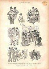 Salon Art Peinture Caricature Critique Beaux-Art Vernissage GRAVURE PRINT 1883