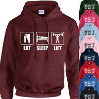 EAT, SLEEP, LIFT HOODIE ADULT/KIDS - PERSONALISED  - TOP WEIGHTLIFTING GIFT GYM