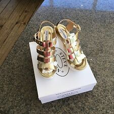 STEVE MADDEN Bessa Gold Platform  Wedge Leather dress sandals SIZE 8M