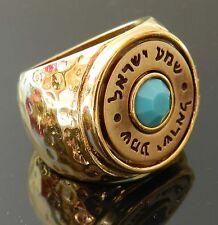 24K Gold Plated Kabbalah Ring Carved Shema Israel Men Women Turquoise Sz 6.5