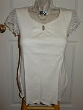 BCBG Max Azria Ecru Off White Knit S/S Top Lace Sleeves NWT L