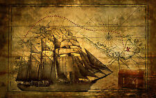 Large Framed Print - Vintage Pirate Ship with Treasure Map (Picture Poster Art)