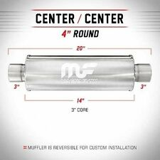 Magnaflow Muffler SS Center 4 inch round 3 inch inlet outlet 14 inch body 14419