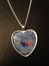 Silver Plated Heart Pendant Necklace Disney Finding Nemo Dory Marlin