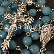 Natural Aquamarine & Silver Rose Beads catholic rosary crucifix cross necklace