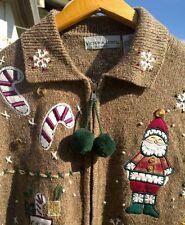 CUTE!!! Womens Petite Medium Country Christmas Zip Front Cardigan Sweater Santa