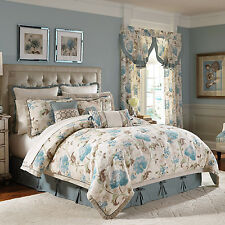 4-Pc Croscill Gazebo QUEEN Comforter Set Watercolor French Floral Blue Brown