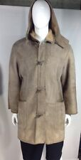 Falabella Design for Men, Suede Shearling Coat with Removable Hood, Size 54