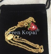 Keren Kopal Austrian Crystal Hand Painted Gold Plate Strawberry Pendant Necklace