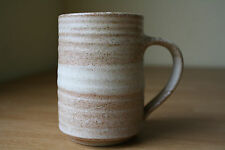 HAND CRAFTED MUG TAN & BROWN SPOT WHEEL SPUN 8 0Z SIGNED EXCOND!