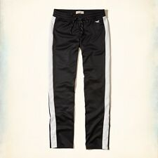 New $40 Junior Womens Size L HOLLISTER Track Pants Poly-Tricot Sweatpants Black