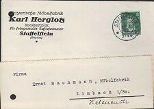 STAFFELSTEIN, Postkarte 1927, Karl Herglotz Bayerische Möbel-Fabrik Schlafzimmer