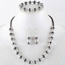Black Crystal Pearl Round Beads Necklace Bracelet Earrings SET Charm M817