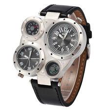 Reloj Hombre MILITAR Deportivo Cuero Cuarzo Doble Horario Men Wrist Watch OULM02