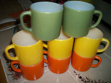 lot of 8 X Vintage  FEDERAL  Milk Glass Coffee Mugs Orange Yellow green EXC COND