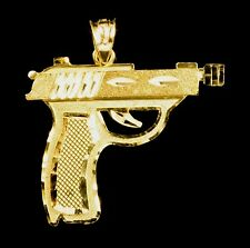 Real 10k Gold Revolver Pistol Gun Pendant Charm Piece in Diamond Cut Design