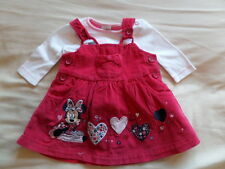 Disney Girls Red Corduroy Bib Skirt Playsuit Size Newborn