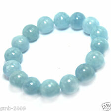 New Handmade Natural 8mm Blue Aquamarine Round Gemstone Stretchy Bangle Bracelet