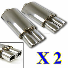 TRACK PERFORMANCE! 2X DEEP TONE RACE WELD OVAL EXHAUST MUFFLER +DUAL SQUARE TIPS