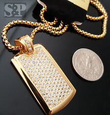 "Gold Stainless Steel Iced out DOG TAG CZ Pendant w/ 24"" Round Box Chain Necklace"