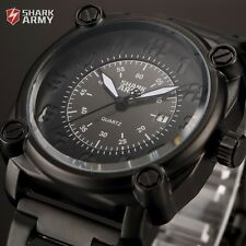 SHARK ARMY Black Mens Military Sport Date Steel Quartz Wrist Watch