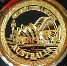 SYDNEY OPERA HOUSE 24K GOLD PLATED AUSTRALIA SOUVENIR CERAMIC ROUND PLATE DECOR