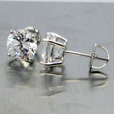 Made in USA Sterling Silver Round CZ 4 Carat tw 4 Prong Screw Back Stud Earrings
