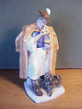 VINTAGE HEREND HUNGARIAN PORCELAIN - MAN WITH CLOAK AND DOG FIGURINE SIGNED