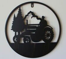 New Circular Metal Farm Tractor Silhouette Wall Piece Country Style Home Decor