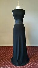 COAST black maxi scoop back dress size 16 evening 20s long gothic