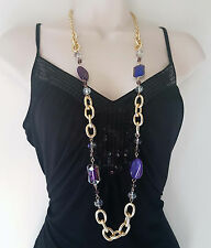 "Stunning 38"" long Gold tone & PURPLE tone chunky link chain & bead necklace"