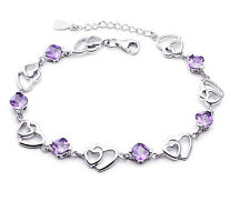 925 Sterling Silver Swarovski Element Crystal Amethyst Heart Bracelet Chain Box