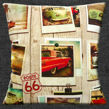 "VINTAGE RETRO VW CAMPERVANS CARS ROUTE 66 PHOTOS Cotton 16"" Pillow Cushion Cover"