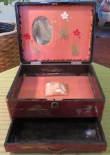 Vintage Marked JAPAN Oriental Wood Jewelry Box w Handpainted PAGODA Sceen NEAT