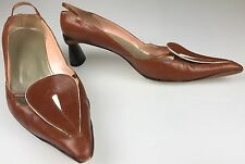 VALENTINE Tan Brown Leather Point Toe Pumps Made In ITALY Size 8