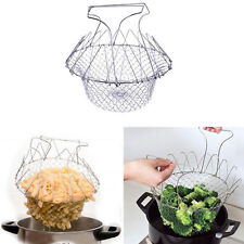 New Chef Foldable Steam Rinse Easily Strain Fry Basket Strainer Kitchen Tools