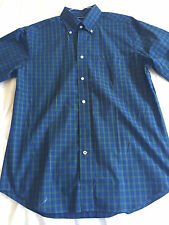 Nautica Navy/Green Wrinkle-Resistant/Non-Iron Button-Down Long-Sleeve Shirt