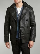 Denim Supply Ralph Lauren Men Leatherlike Coated Waxed Oilcloth Pea Coat Jacket