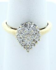 10K GOLD 1/4ct ROUND DIAMOND PEAR COCKTAIL CLUSTER RING
