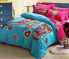 Cliab Owl Bedding Girl Duvet Cover Set Twin Size 3 Pieces 100% Cotton NEW