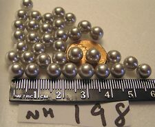 36 Vtg No Hole 7mm Grey Pearl Ball Bead Jewelry Findings lot Craft Repair brooch
