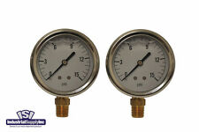 "2-Pk 0-15 psi 2.5"" Hydraulic-Air-Water Pressure Gauge Liquid Filled"