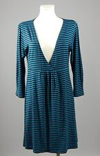 The Masai blue and black striped 3/4 sleeved v neck tunic dress size M