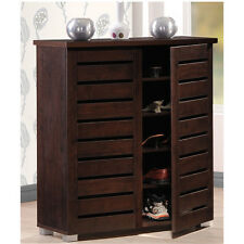 Brown Shoe Storage Cabinet Rack 5 Shelf Holds 15 Pair Vented Entryway Furniture