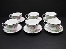 Christian Dior China NORMANDIE Floral Cups and Saucers / Set of 6
