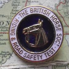 Vintage Gilded British Horse Society Road Test Enamel Brooch Badge by Lewis